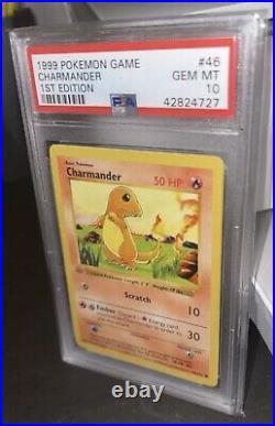 PSA 10 Gem Mint Base Set 1st Edition Charmander Gray Stamp 46/102