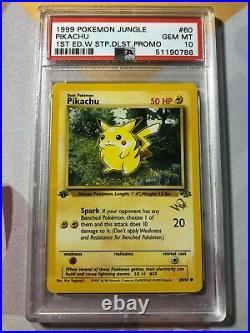 PSA 10 Gem Mint Pikachu W Stamp 1st Edition Jungle Set #60 1999 Pokemon Promo
