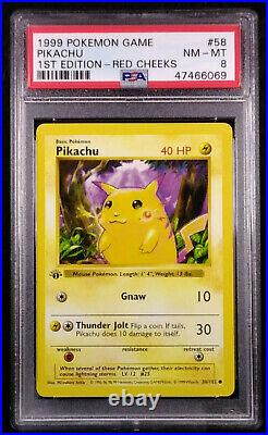 PSA 8 Pikachu 58 1st Edition Red Cheeks SHADOWLESS BASE SET NEAR MINT Card 1999