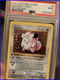 PSA 9 1st edition CLEFAIRY shadowless holo MINT Thick Stamp #5 FRESH Re-CASE