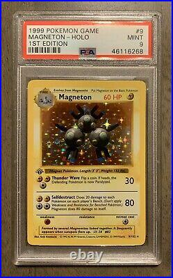 PSA 9 1st edition MAGNETON shadowless holo Base set MINT Thick Stamp #9