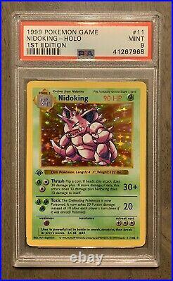 PSA 9 1st edition NIDOKING shadowless holo Base set MINT Thick Stamp #11