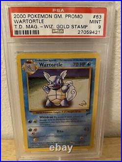 PSA 9 Wiz Stamp Wartortle Gold W Stamp 63/130 Pokemon Base Set 2 T. D. Promo Mint