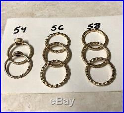 Pandora Rings 8 PCS Lot 14K 585ALE Stamped All Genuine Sizes 54 56 58 18.37 Gram
