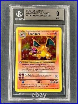Pokemon 1st Edition Charizard Shadowless 1999 4/102 Thick Stamp BGS 9 MINT