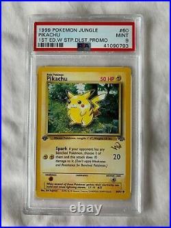Pokemon 1st Edition Jungle Pikachu 60 PSA 9 Mint W Stamp Duelist Promo