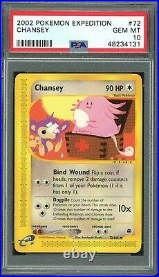 Pokemon 2002 Expedition #72 Chansey WOTC PSA 10 Gem Mint