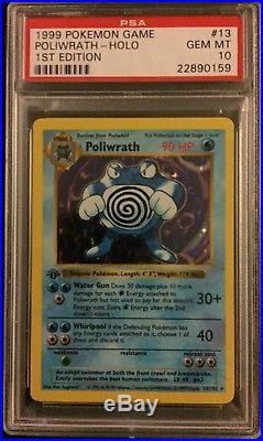 Pokemon Base Set Thick Stamp 1st Edition Poliwrath 13/102 PSA 10 Gem Mint