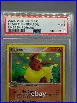 Pokemon Ex Unseen Forces Flareon 5/115 Reverse Holo PSA 9 MINT
