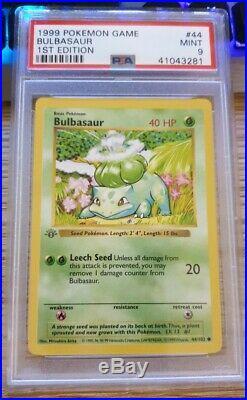 Pokemon Game Base 1st Edition Thick Gray stamp Bulbasaur #44 PSA 9 MINT