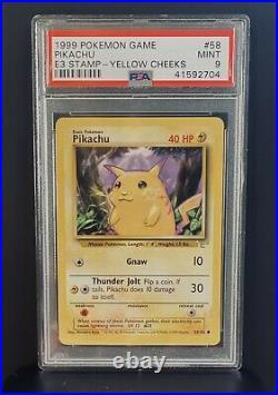 Pokemon Yellow Cheeks Pikachu #58 with Gold E3 Stamp PSA 9 MINT