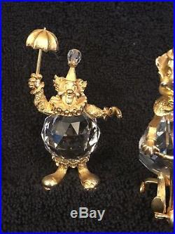 Rare 1983 Swarvorski Crystal T Stamp Set Of Four Clowns Mint 24KT Gold Plated