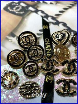 SET LOT of 15 CC Logo Chanel Dior GG Gucci LV buttons emblem zipper stamped