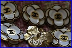 STAMPED CHANEL BUTTONS Lot of 4 size 32 mm Logo CC Metal Large