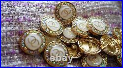 Stamped Vintage Chanel Buttons Lot Of 9 Logo CC Crystal's 20 MM