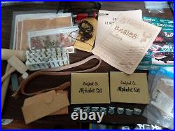 Tandy leather tools, supplies lot 2 Craftool alphabets, 8 stamps, 5 craftaids