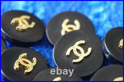 Ten Stamped Chanel buttons lot of 10 pieces metal cc logo 0,8 inch 20 mm