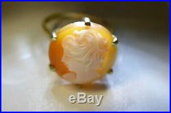 Vintage 9 Ct 375 Gold Cameo Set Ring Stamped Mp Crown Hallmark Estate Lot
