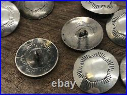 Vintage Native Navajo Stamped Southwest Sterling Silver Concho Buttons Lot of 26