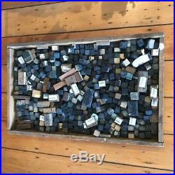 Vintage chinese characters original wooden stamps 350 bulk lot plus wood tray