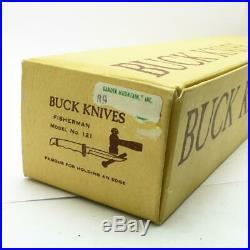 Vintage pre-1986 Buck 121 Fisherman Sheath Knife MINT in BOX 3 Line Stamp