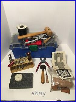 Vtg Leather Workers Saddlemaker Tooling Tool Box Craft Tool Stamps USA Made More
