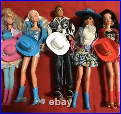 Western Barbies & Ken Lot Of 5 Western Stamping