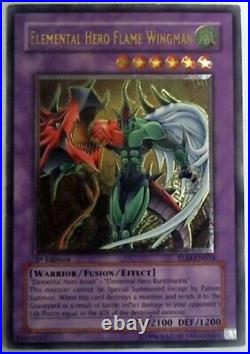 Yugioh Gold Stamp Ultimate Rare 1st Edition Elemental Hero Flame Wingman MINT